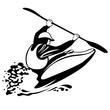black and white illustration of freestile kayaking