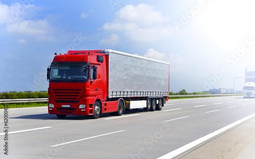 canvas print picture LKW auf Autobahn