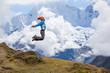 Hiker jumps in Himalaya mountains