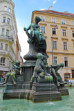 Old monument and fountain in Prague