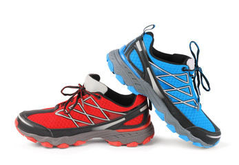Red and blue running sport shoe