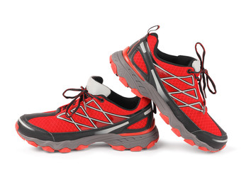 Red running sport shoes