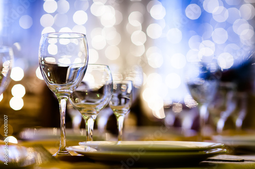 Served table in a restaurant at the holiday eve - 62001007
