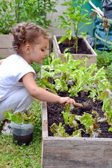 petite fille au carré potager