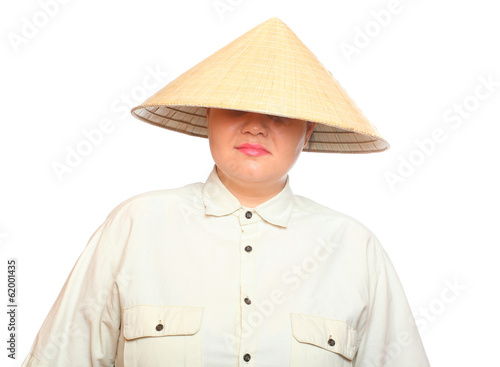 Blindfolded woman with red lips in the Chinese Hat.