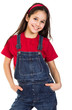 Smiling girl in coveralls