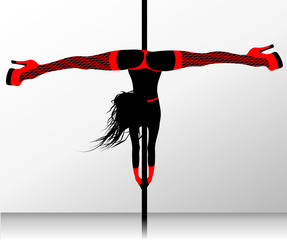 Pole dance. Erotic striptease
