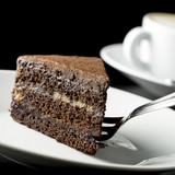 Slice of delicious chocolate cake