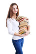 girl hugging a books pile