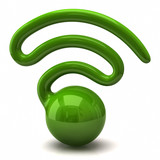 Stylized green wireless network symbol