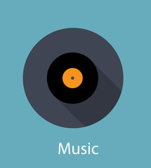 Music Flat Concept Icon Vector Illustration