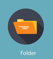 Folder Flat Icon Concept Vector Illustration