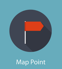 Map Point Flat Icon Concept Vector Illustration