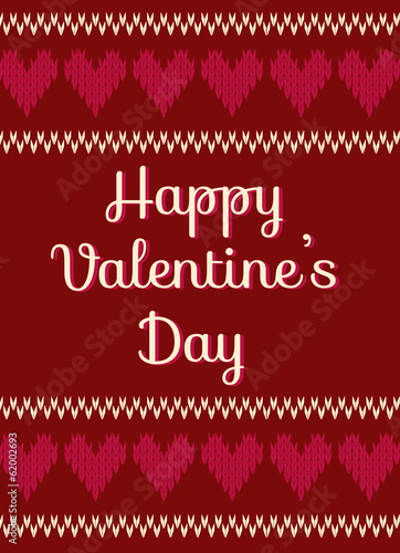 valentine's day card, scandinavian style knitted pattern