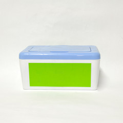 Color plastic box on white background.