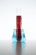 Colorful laboratory glassware