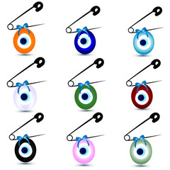 Colorful evil eye bead with safety pin vector