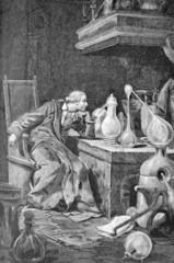 savant dans son laboratoire, gravure du 18 ème siècle