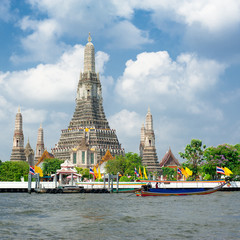 Wat Arun or Temple of Dawn at Chao Phraya River. Thailand