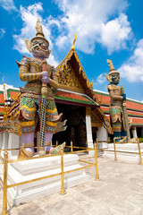 Traditional style statue of Guard at Wat Phra Kaeo. Thailand