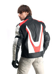 Handsome man in biker jacke