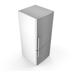 Modern metallic refrigerator isolated on white background