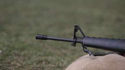 firing M16 rifle