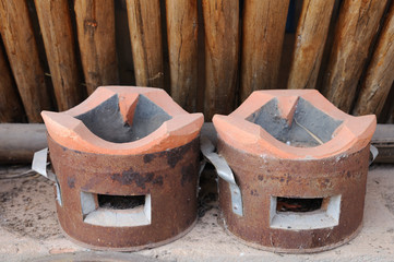 Double Thailand traditional clay stove.