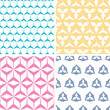 vector four abstract geraldic geometric pink seamless patterns