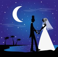 ccoppia di sposi di notte sulla spiaggia
