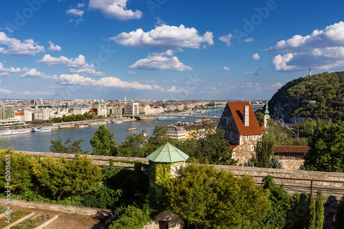 Panorama of Budapest with Elizabeth Bridge, Danube and Gellert h