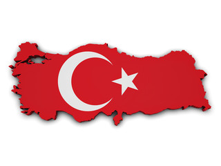 Turkey Flag Map Shape
