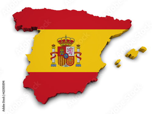 Spain Flag Map Shape