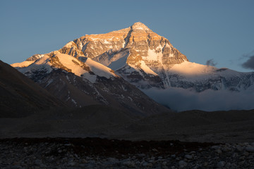 The north face of Mt. Everest before sunset, Tibet.