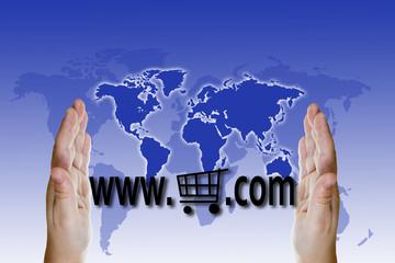 Concepto de compras en internet en todo el mundo
