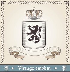 Vintage emblem with lion