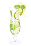 Glass of cocktail with lime and mint isolated on white