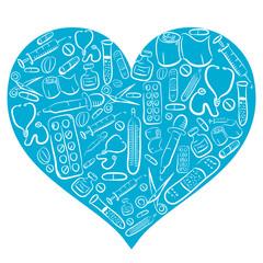 Hand Drawn Blue Medical Heart