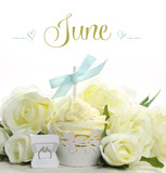 Happy June cupcake with summer wedding theme decorations