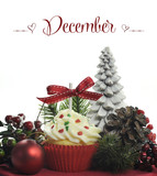 Happy December cupcake with festive decorations