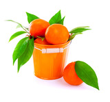 Bucket of fresh mandarins