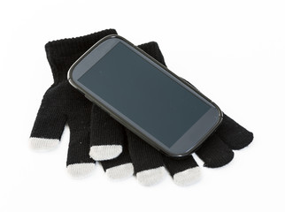 Set of winter gloves with touch pad feature