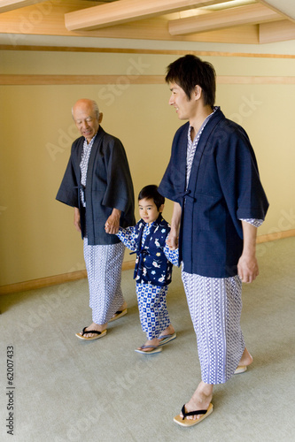 three-generation family in yukata