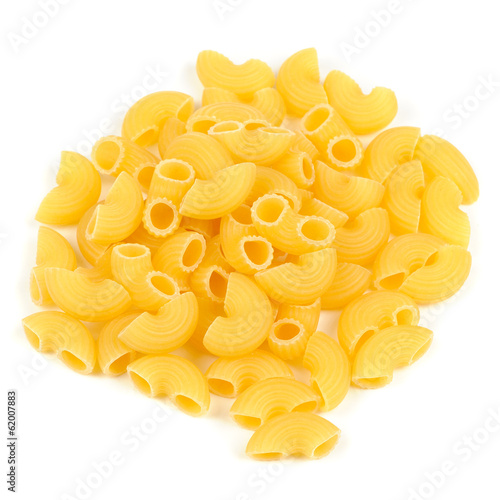 Raw Elbow Macaroni (Gomiti Pasta) Isolated on White Background