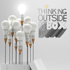 pencil light bulb in open box 3d and design word THINKING OUTSID