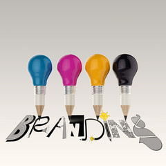 hand drawn graphic word cmyk and 3d cmyk pencil light bulb as co