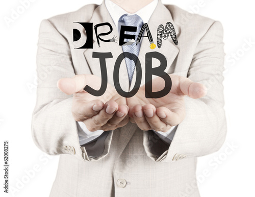 businessman hand show design words DREAM JOB as concept