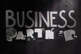 design graphic word business partner on blackboard as concept