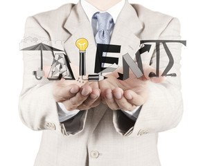 businessman hand drawing design word Talent as concept