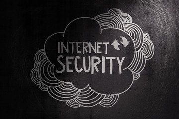 hand drawn internet security on dark texture background as conce